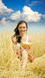 Girl with quass and bread stock photos
