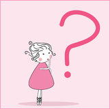Girl with question. Vector illustration of girl and question mark Stock Photos