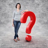 Girl with a question Stock Images