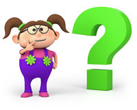 Girl with question mark Stock Images