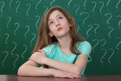 Girl With Question Mark Drawn On The Chalkboard Stock Photography