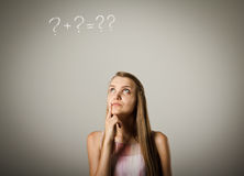 Girl and question marks Royalty Free Stock Images