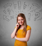 Girl with question sign doodles on gradient background Stock Photo