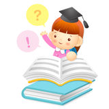 The girl is questioning with read a big book. Education and life Royalty Free Stock Photos