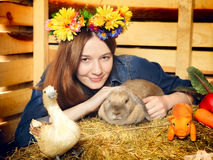 Girl With Rabbit Royalty Free Stock Photo