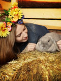 Girl With Rabbit Royalty Free Stock Image
