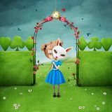 Girl and Rabbit. Conceptual illustration of fabulous story Wonderland of Girl and Rabbit. Computer graphics royalty free illustration