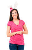 Girl with rabbit ears Stock Photography