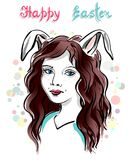 Girl with Rabbit Ears. Multicolored illustration with funny girl with rabbit ears and handwritten text Happy Easter. Festive design of postcard, poster, fabric Stock Photos