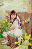 Girl and rabbit Royalty Free Stock Photo