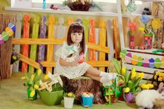 Girl and rabbit Royalty Free Stock Image