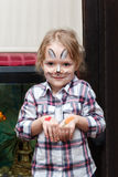 Girl with rabbit face painting Royalty Free Stock Photography