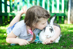 Girl with rabbit Royalty Free Stock Images