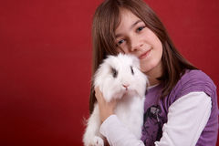 Girl and Rabbit Royalty Free Stock Photography
