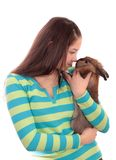 Girl  and  rabbit, isolated. Stock Photography