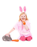 Girl with rabbit isolated on white Royalty Free Stock Photo