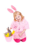 Girl with rabbit isolated on white Royalty Free Stock Photos