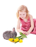 Girl with rabbit isolated on white Stock Photo
