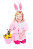 Girl with rabbit isolated on white Stock Image