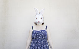 Girl rabbit mask Stock Photography
