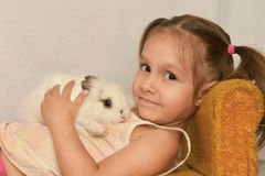 Girl with a rabbit Royalty Free Stock Images