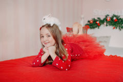 Girl and rabbit Royalty Free Stock Images