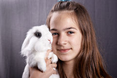 Girl with a rabbit Royalty Free Stock Photos