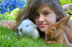 Girl with rabbits Royalty Free Stock Image