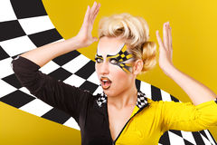 Girl racer. Emotions. Royalty Free Stock Photography