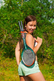 Girl with racket Stock Photos