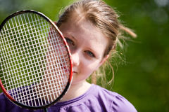 Girl with Racket Royalty Free Stock Photos