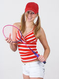 Girl and racket Royalty Free Stock Image