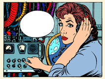 Girl radio space communications with astronauts. Pop art retro style. The mission control center. Manager flights. Science fiction space and planets Royalty Free Stock Image