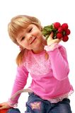 Girl with radish. Young girl with radish on white background Stock Photography
