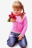 Girl with radish Royalty Free Stock Image
