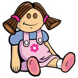 Girl rag doll. Cartoon illustration of a girl rag doll Royalty Free Stock Photo