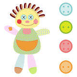 A girl ragdoll and four buttons Stock Photos