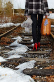 Girl on railroad. Girl walking along old railroad Stock Images