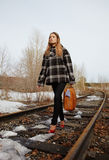 Girl on railroad. Girl walking along old railroad Royalty Free Stock Photo