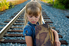 Girl on a railroad track Royalty Free Stock Photography