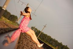 Girl on the rails Royalty Free Stock Photos