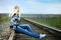 The girl on rails Royalty Free Stock Photos