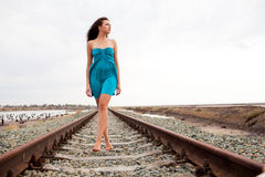 Girl on the railway Royalty Free Stock Image