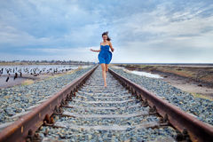 Girl on the railway Stock Photos