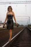 Girl and a railway Stock Photo