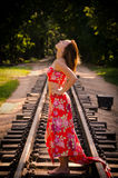 Girl on a railway Royalty Free Stock Photography