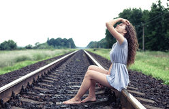 Girl on the railway Royalty Free Stock Images