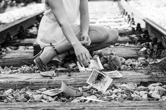 Girl on a railway collecting memories Royalty Free Stock Photo