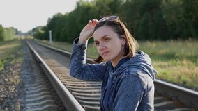 The girl on the railway! stock footage