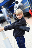 The girl at railway station. Stock Photo
